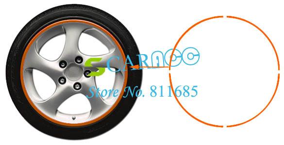 10pcs/lot Wholesale Car Motorcycle Rim Stripe Wheel Stickers 16 Strips Orange 29(China (Mainland))