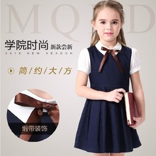 Buy 2017 Summer Blue Cotton Short Sleeve Pleated Kids School Uniform Dress Girls 4 6 8 10 12 14 Years Teenage Girls Clothing for $18.83 in AliExpress store