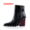 SUBERRY 100 Genuine leather Sexy Fashion Autumn Winter Women Special Rivet Boots Thick High Heels Shoes