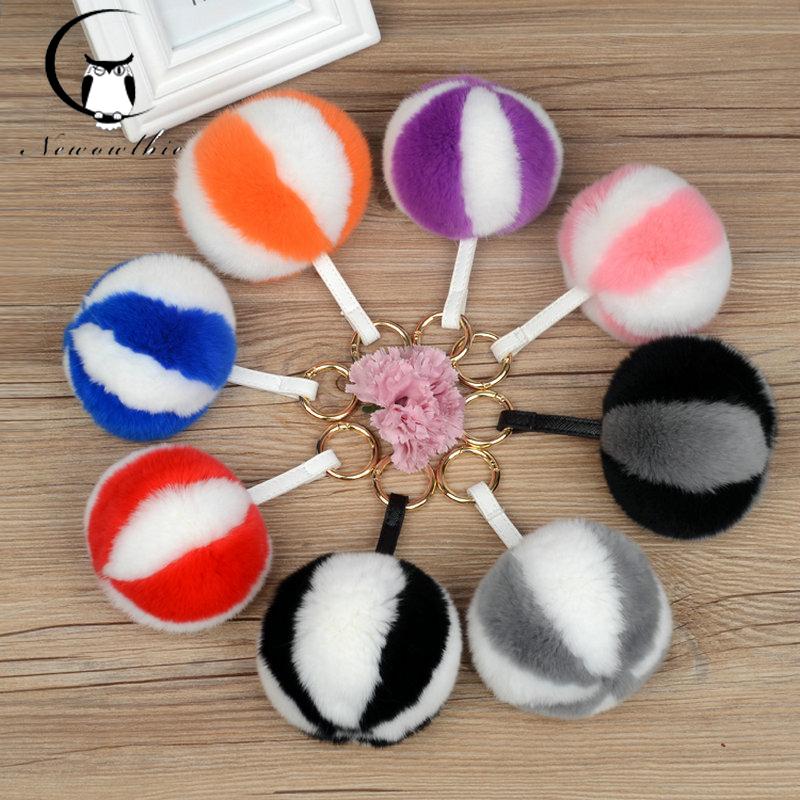 Real rax rubbit accessory ball ornaments Car key chain pendant buckle creative gift Women's fur bag pendant llaveros mujer(China (Mainland))