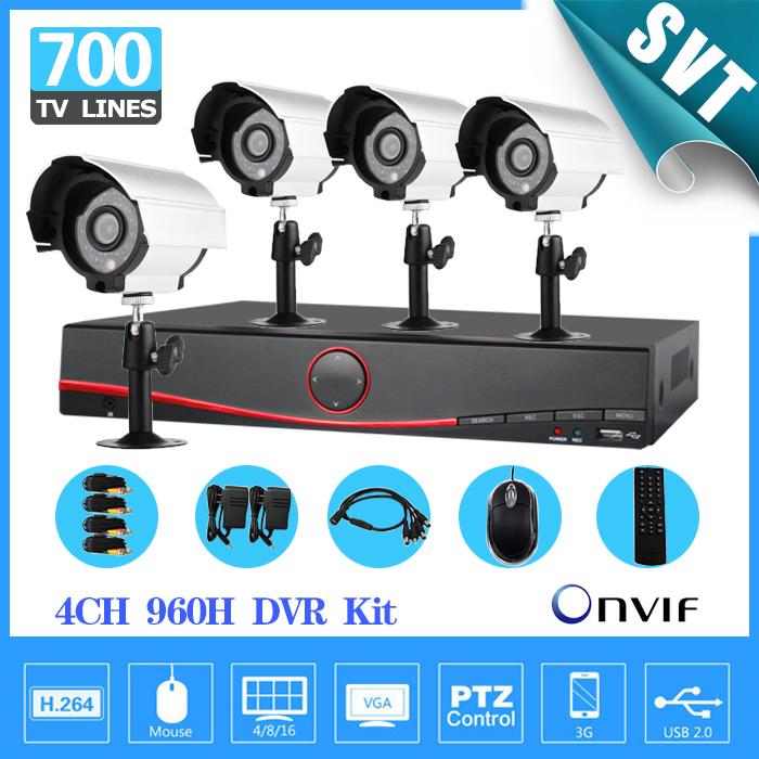 NVR DVR CCTV 4CH Full 960H D1 hybrid Recording System 4pcs 700TVL Sony outdoor CCTV Day night Camera video kit, Security SNV-28(China (Mainland))