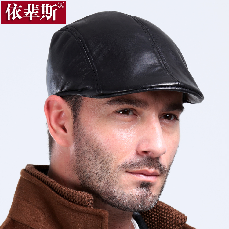 Genuine leather sheepskin hat male winter casual beret quinquagenarian fashion cotton cap forward - Show your personality store