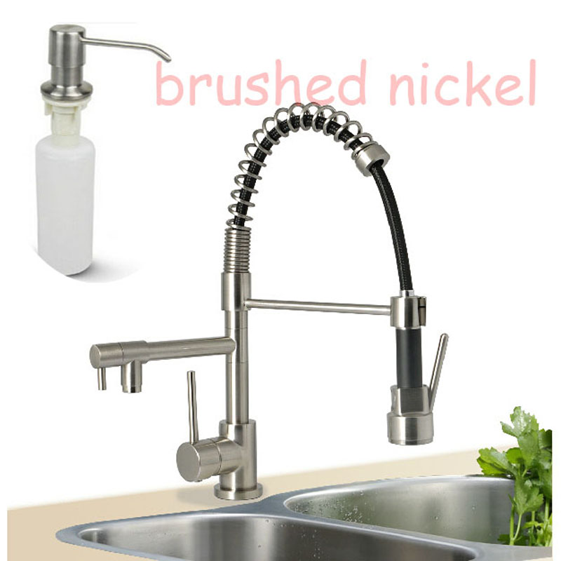 Фотография Nickel Brushed Spring Kitchen Sink Mixer Taps Dual Spout Pull Down Hot Cold Water Taps with Soap Dispenser