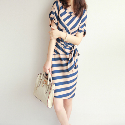 SXL 2015 summer striped chiffon dress short-sleeved round neck jimpness - A W S X L store