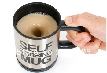 Free shippping Automatic coffee mixing cup mug bluw stainless steel self stirring electic coffee mug  Fashion Water cup