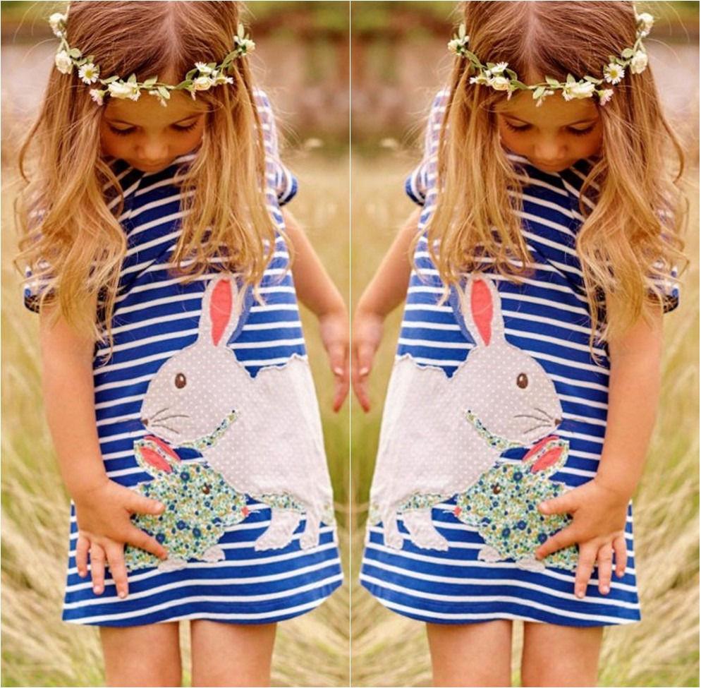 Summer 2016 Kids Baby Girls Toddlers Short sleeve Cute Rabbit Blue Striped Sun Dress 2-7Y(China (Mainland))