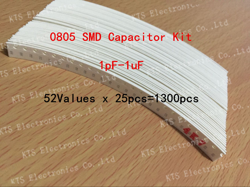 0805 SMD Capacitor Kit Assorted 1pF~1uF 52values*25pcs=130Chip Ceramic Sample bag - KTS Electronics Co., Ltd store