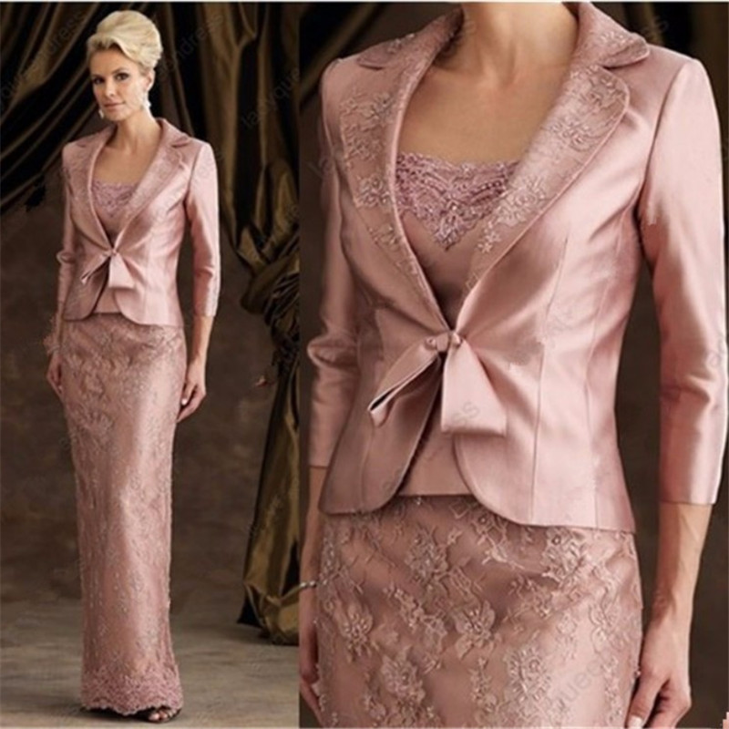 Mother of the bride dress with jacket floor length wedding for Dress and jacket outfits for weddings