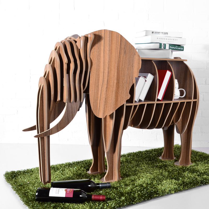 High end DIY Wood Desk Elephant Storage Table Wooden Animal Wild Africa Elephant Creative ...