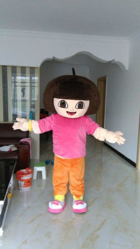 Big head DORA mascot costumes 100% real picture for adults christmas party Halloween Outfit Fancy Dress Suit Free Shipping(China (Mainland))