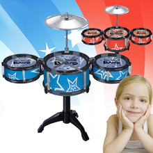 Kids Educational Toys Musical Instrument Simulation of Drum with Three Jazz Drummer Children Musical Toys Random Color(China (Mainland))
