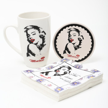 Hollywood superstar set limit customize the glass ceramic cup mark cup overflow suit MONROE350ml cup mat paper towels, MARILYN(China (Mainland))