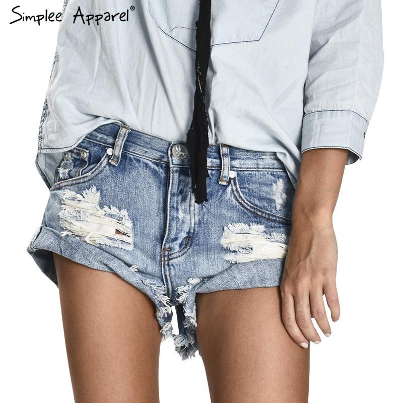 Simplee Apparel 50's Vintage ripped hole fringe blue denim shorts women Casual pocket jeans shorts 2016 summer girl hot short(China (Mainland))