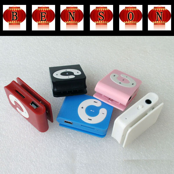 100pcs Mini Clip Mp3 Player Music Mp3 Player C clip MP3 With Card Slot +Earphone+USB Cable+Crystal Box(China (Mainland))