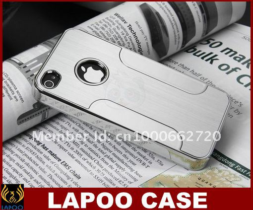 (retail) Deluxe Steel Aluminum Chrome Hard Case Cover iPhone 4 4GS - Lapoocase store