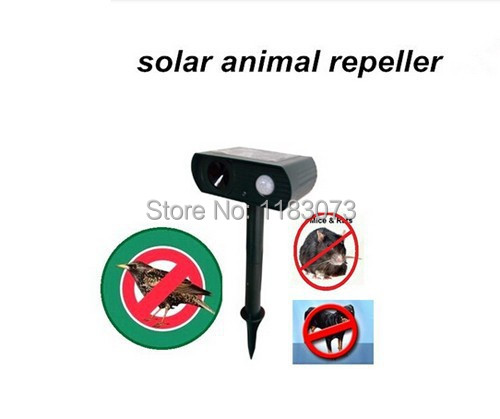 Hot selling Solar Powered Ultrasonic Animal Repeller Repellent Birds Dogs Cats Deer Rat Mice Monkey Mole And More FreeShipping(China (Mainland))