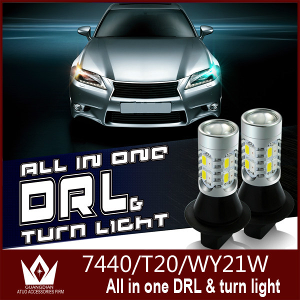 Guang Dian 20W T20 7440 WY21W Winker Blinker drl led daytime running light&Front Turn Signals all in one White+Amber indicator(China (Mainland))