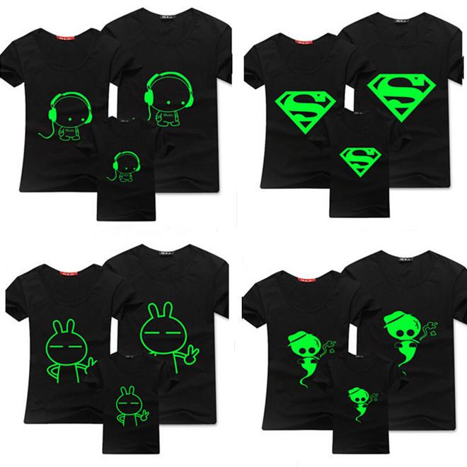 2015 New Boy T Shirt 100% Cotton Children Summer Wear Kid'S Hip Hop Neon Print T Shirt Party Club Night Light Punk T-Shirt Z135(China (Mainland))