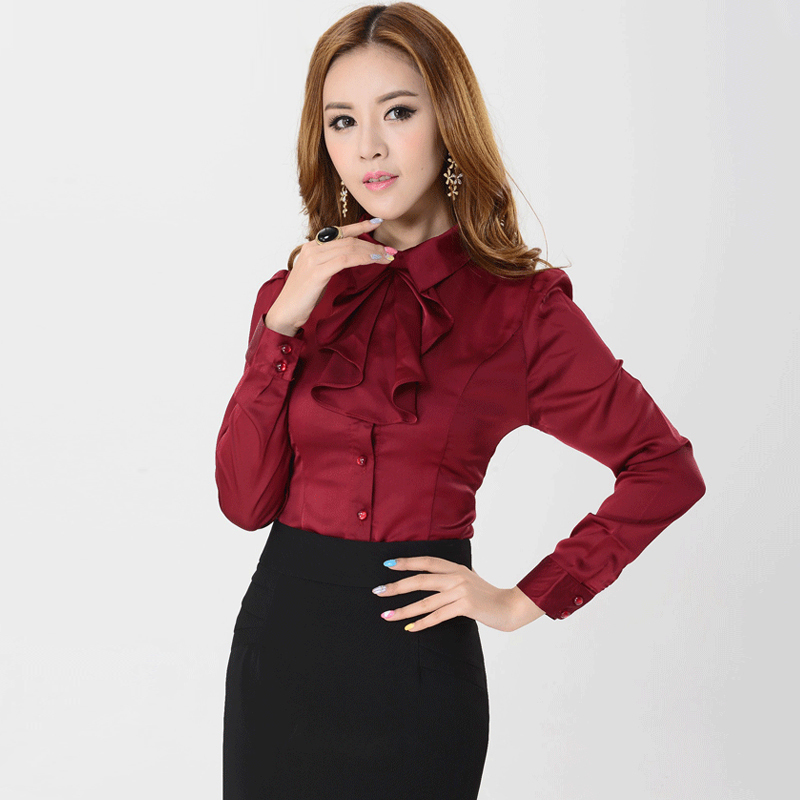 Cool  Women Office Uniform Ruffle Blouses Pink Shirts Diamond Women Tops
