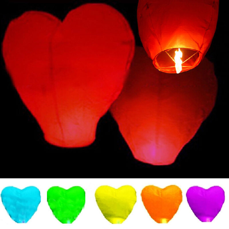 10Pcs Love Heart Sky Lantern Flying Wishing Lamp Hot Air Balloon Kongming Lantern Party Favors For Birthday Party White Paper(China (Mainland))