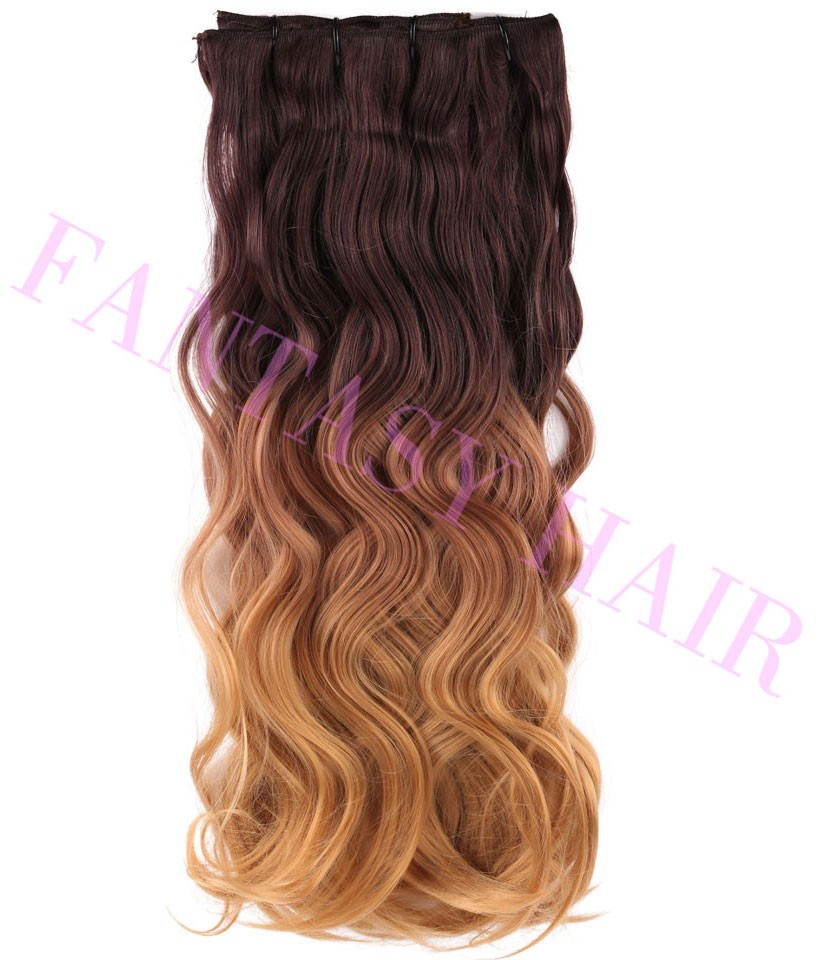 8 pcs a lot brown blonde ombre weave Brazilian body wavy full head clip in synthetic hair extensions heat resistant no shedding-8