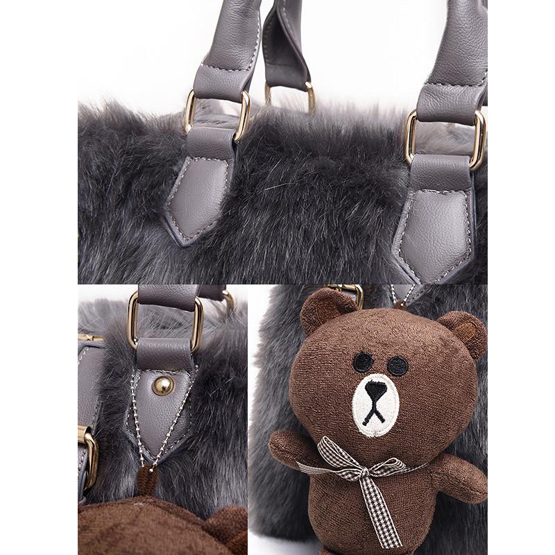 ซื้อ แฟชั่นฤดูหนาวขนกระต่ายC Rossbodyกระเป๋าผู้หญิงบอสตันถุงสิริตุ๊กตาหมีmessengerแบรนด์+คลัทช์หนังคอมโพสิตกระเป๋า