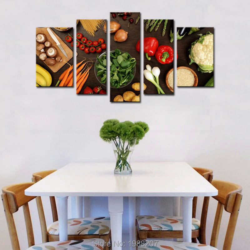 5 Panels Wall Art Table Top Full Of Fresh Vegetables Fruit And Other