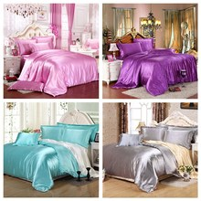 Promotion 4Pcs Comforter Pure Satin Silk Bedding Set Bed Sheet+Duvet Cover + Pillowcases Queen King Super King Size Home Textile(China (Mainland))