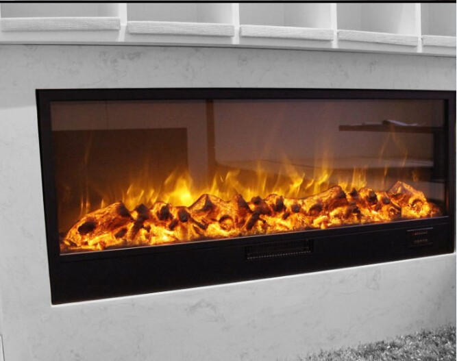 log flame electric fireplace insert full glass view window ...