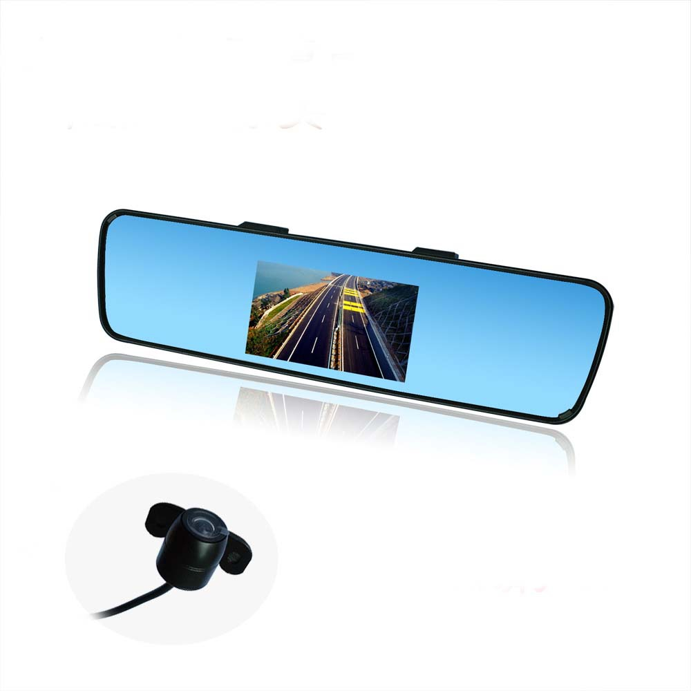 4.3 Color TFT LCD Car Rear view Mirror Monitor FR Screen Reverse Parking Camera DVD Video Input Free Shipping Easy installation(China (Mainland))