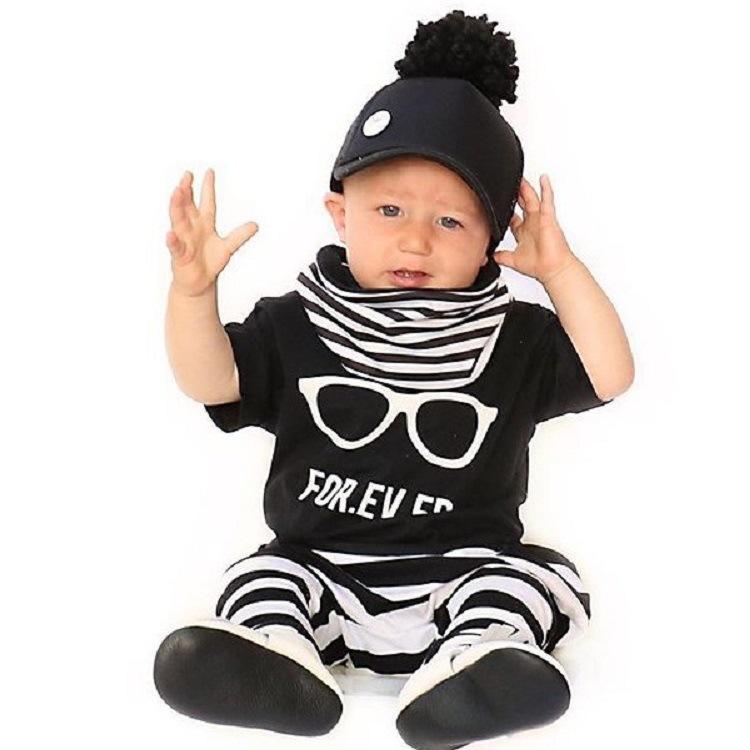 SY-959 new 2016 Hot Fashion Baby Boy Clothing Set Cool Glasses Short Sleeve Cartoon T-shirt+Pants Infant Bebe Newborn Clothes(China (Mainland))