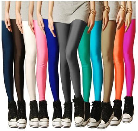 Одежда конфеты блестящий неон цвет леггинсы женщины в высокая натяжные брюки верхний
