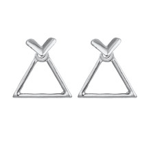 Korean Style Fashion Jewelry Geometric Earrings Simple Design Jewelry Silver Gold Earrings For Women Square Triangle Brincos(China)