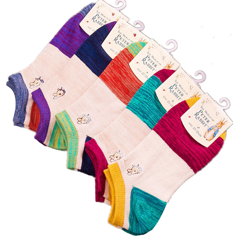 Hot 2016 Women's Socks Cotton Lovely Jacquard Weave Thick Strips Sock For Woman Fashion Women Ankle Socks Low 5Pairs/lot(China (Mainland))