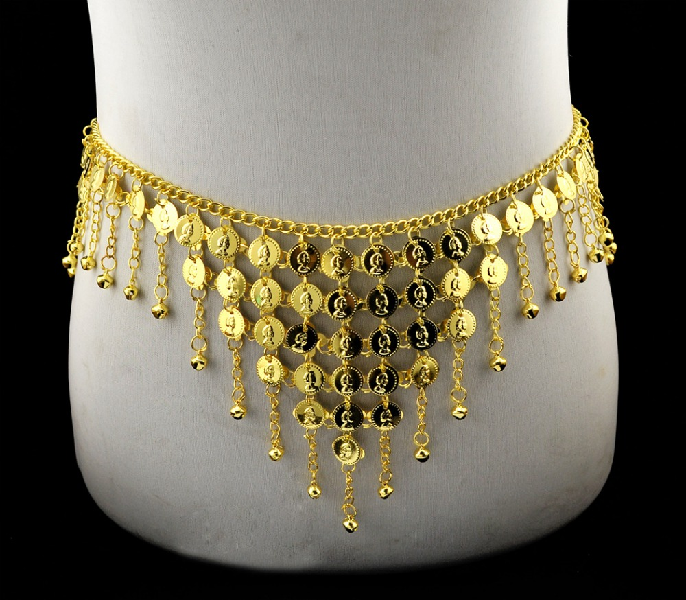 Indian belly dance waist chain gold metal dangle coins for Necklace belly chain jewelry