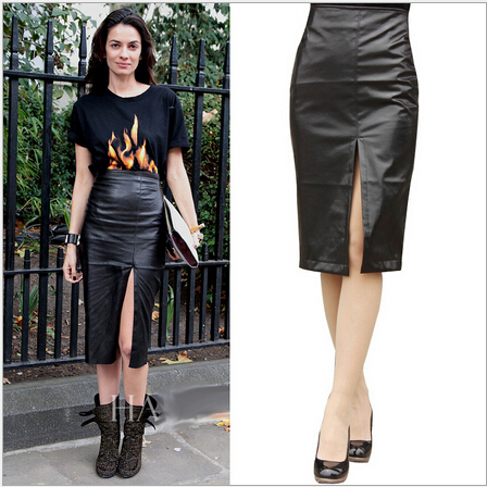 Black leather skirt with split – Modern skirts blog for you