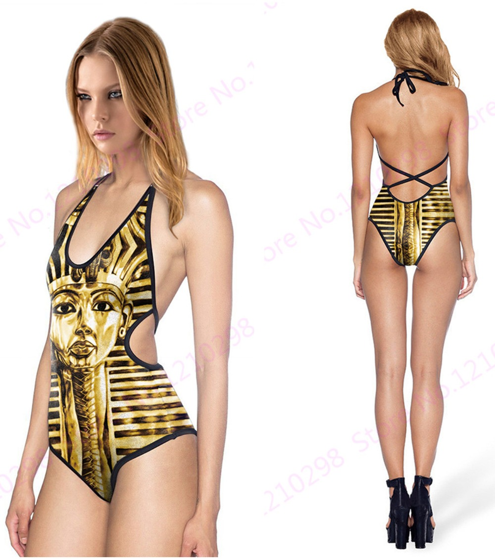 men wearing women's bikini Egypt Pyramid Swimsuit Halter Bandage One-piece Women Swimwear Golden Egypt  Pharaoh Swimming Suit One Piece V Neck Cut-out