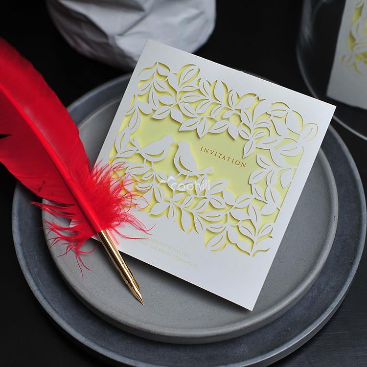 50 sets(Card+envelop+seal)Laser Love Bird Wedding Invitations Cards Engagement Gatefold Invites Favors - Coohill store
