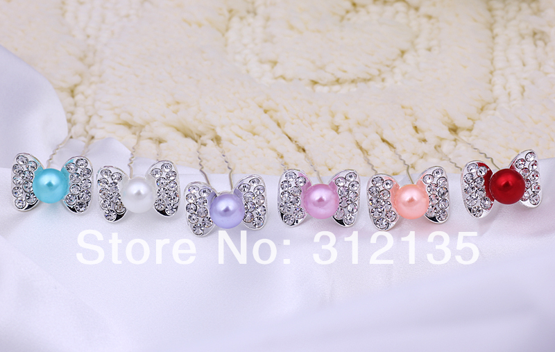 Fashion Silver Plating Pearl Butterfly Design Bridal Wedding Hair Pin 7.6*1.7*2.4cm Mix Colors 20 - Daisy Daily store