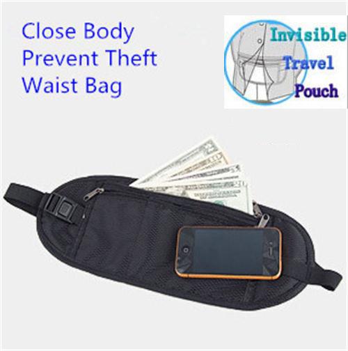 Fashion Nylon Outdoor Travel Money Safety Hidden Waist Bag Lightweight Close Body Wallet Sports Purse Prevent Theft F-45 - Marry Chen's store