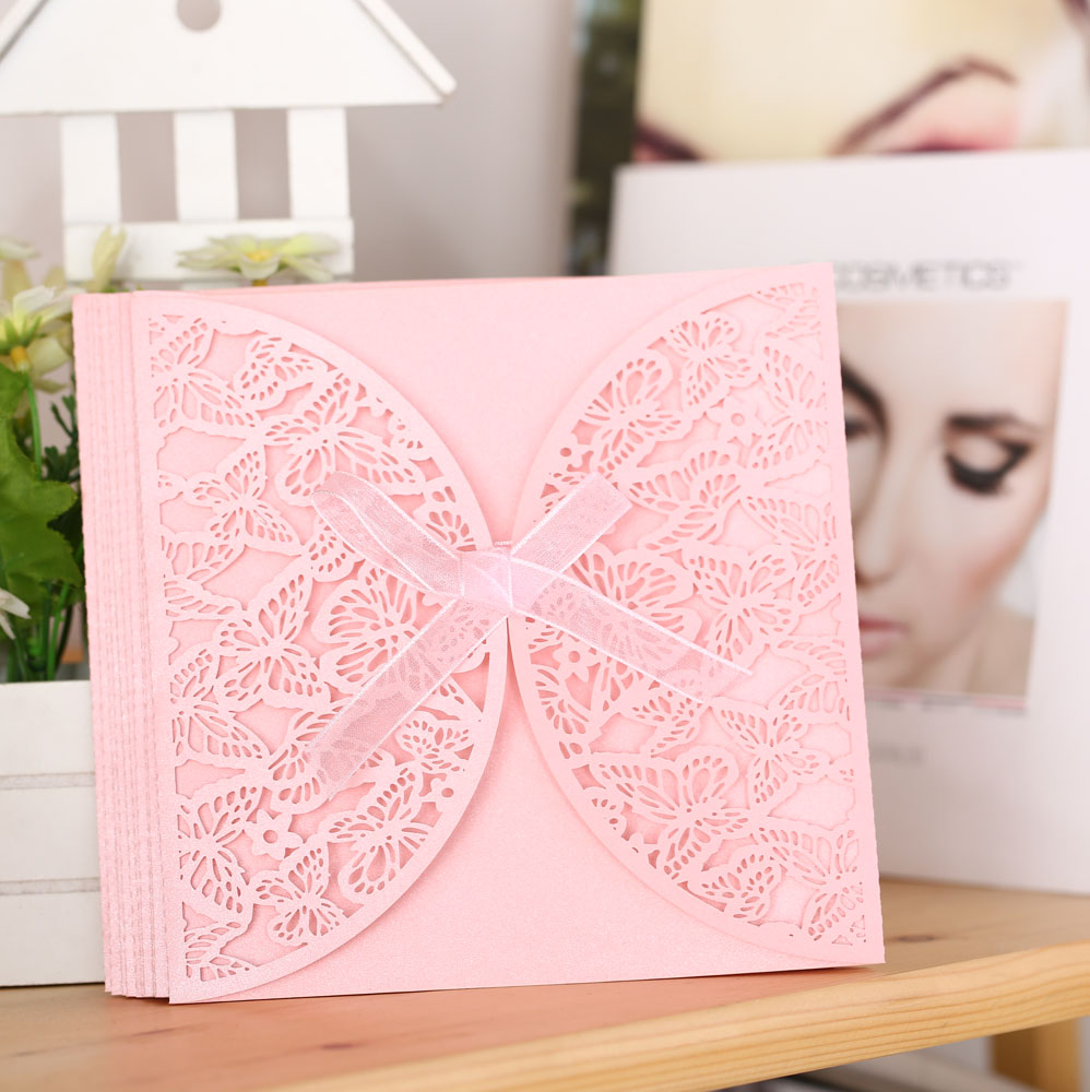 10Pcs Romantic Wedding Party Invitation Card Envelope Delicate Carved Butterlies Pattern Hollow Out Wedding Invitation Envelope(China (Mainland))