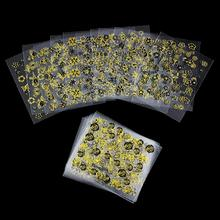 24Pcs/Lot Beauty 3D Gold Flowers Nail Art Stickers Manicure Decals Decorations Stamping French DIY Tools For Nails JH134