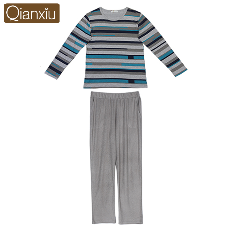 Qianxiu Brand Pajamas Casual Stripes Men Pajama Set Plus Size Sleepwear Modal Cotton Home Dress for