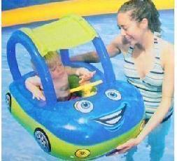 Child car style baby swim ring wooden seat baby seat baby floating ring band sunscreen sun shelter