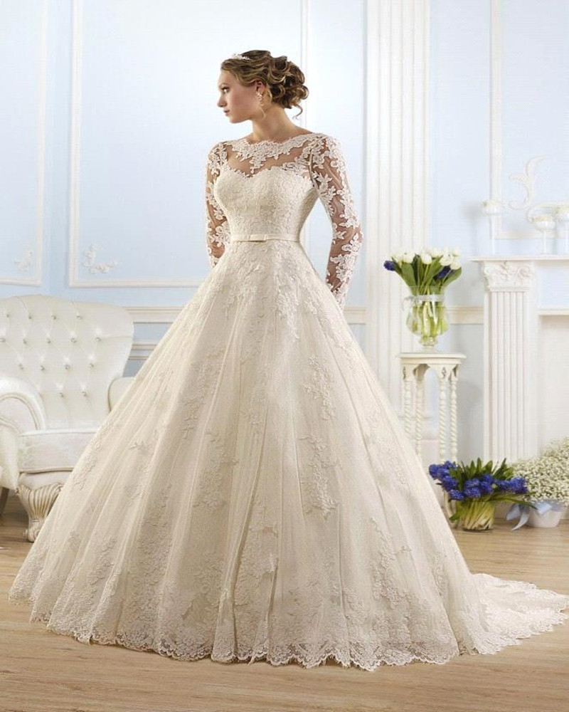 Vestido de noiva 2016 ball gown long sleeves appliques see for See through wedding dresses