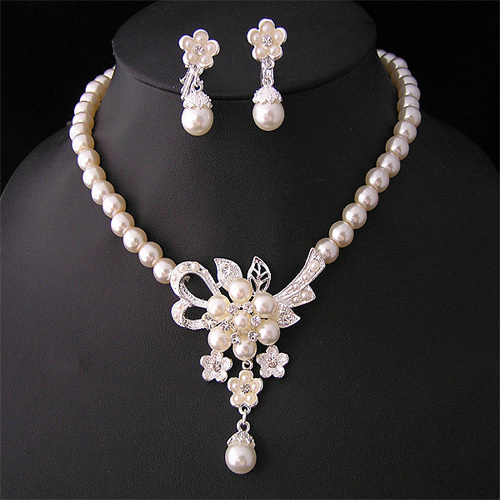Free Shipping Rhodium Plated Crystal Accessories Jewelry Elegant Imitation Pearl Flower Bridal Wedding Jewelry Sets For Women