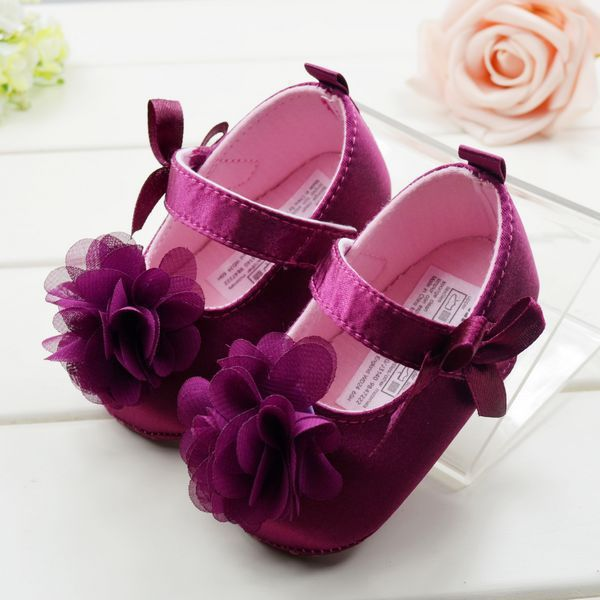 Cute Red Flower Princess soft baby shoes girl shoe 3 size choose - Fashion Emily Store store