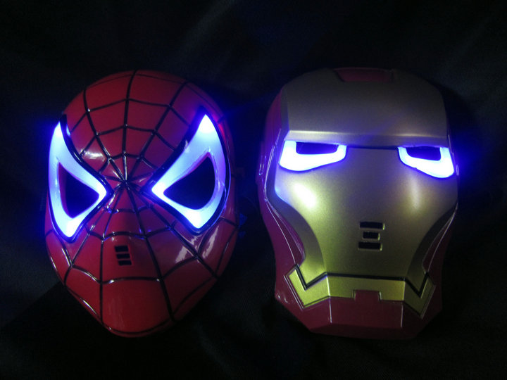 Halloween Hoilday Cosplay Mask Spider Man Mask With Led light Children Festival Iron Man mask for Masquerade Party red color(China (Mainland))