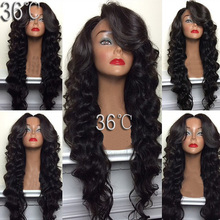 36 virgin hair glueless full lace wigs long body deep wave lace front wig full lace human hair wig for black women u part wig(China (Mainland))