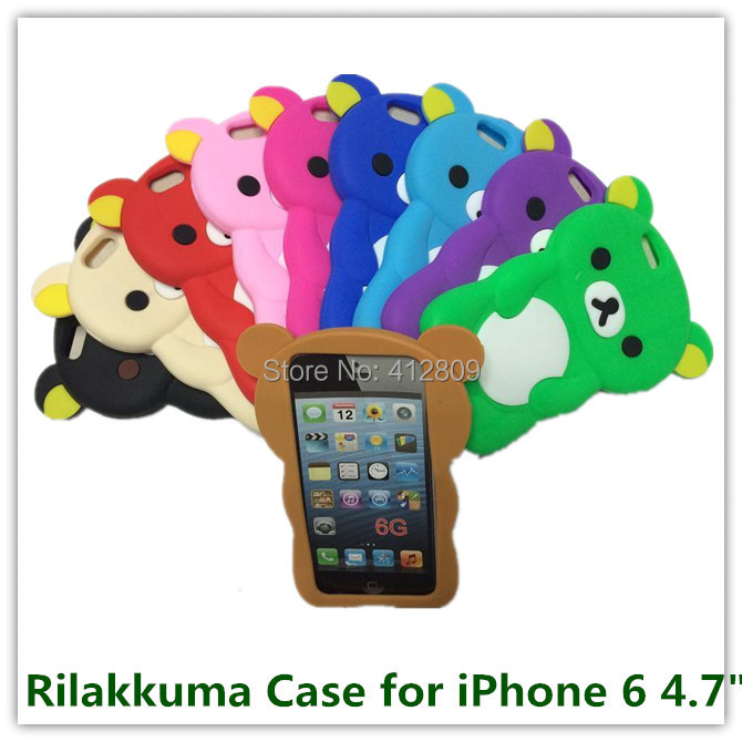 "10PCS for Apple iPhone 6 4.7"" New Red Rilakkuma Bear Soft 3D Silicone Animals Style Back Cover Case for iPhone 6 Hot Sales Free(China (Mainland))"